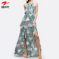 2018 Wholesale Boho Maxi Dress Women Spaghetti Strap Summer Printed Halter Dress