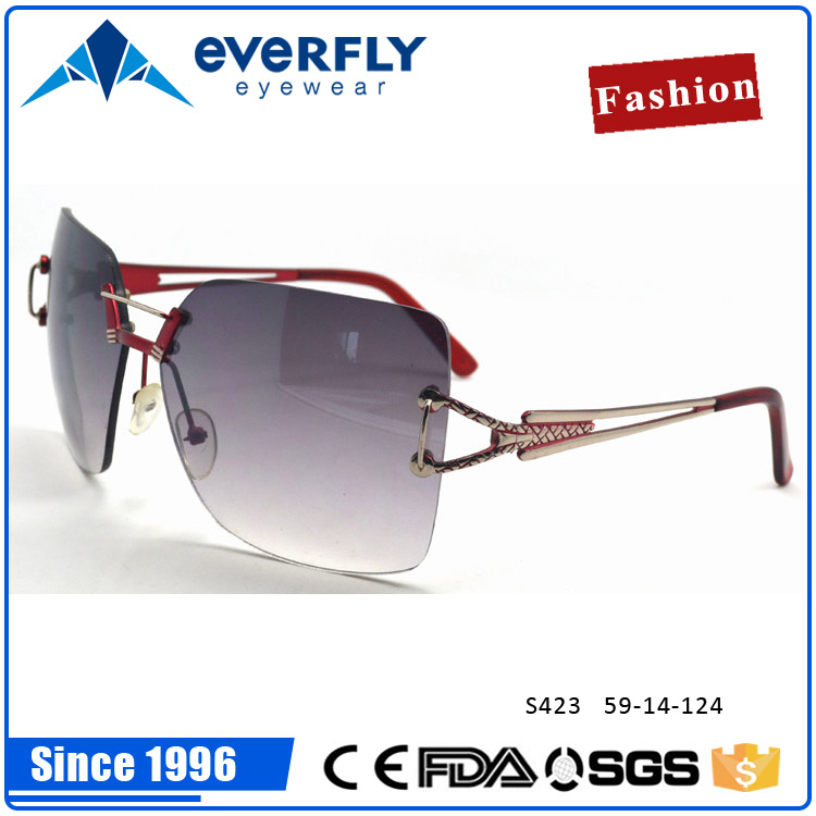 Rimless nylon glass sunglasses big square shape gradient sunglasses loved by young girl lady women from China Wenzhou
