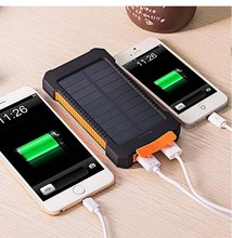 New Solar Power Bank Dual USB Power Bank 20000mAh Waterproof Battery Charger External Portable Solar Panel with LED Light