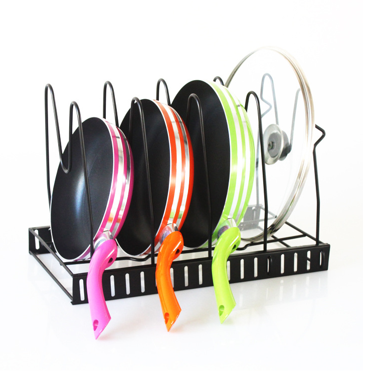 Hot Selling Kitchen Tools Frying Pan Stand Rack Pot Lid Rack Kitchen Storage Pan Rack