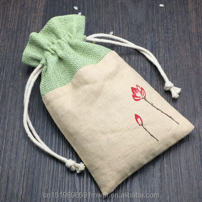 Printed Jute Burlap Christmas Gift Bags splicing with Cotton Linen fabric