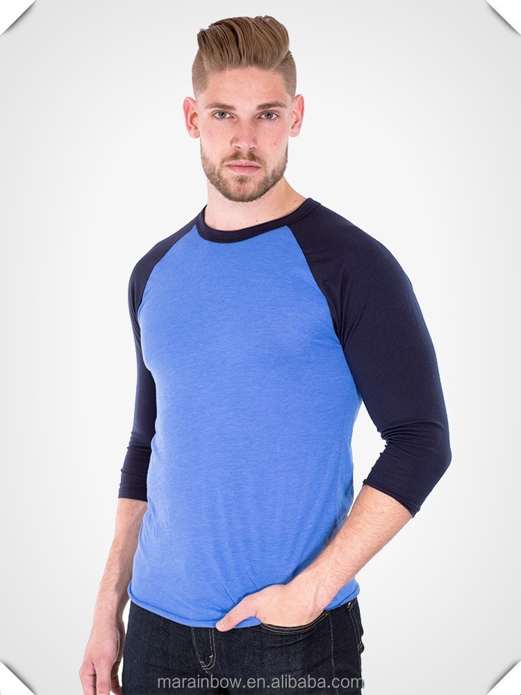 Cotton polyester plain contrast colors basic baseball tee for American apparel plain t shirts bulk