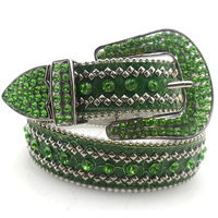 new fashion acrylic women green crystal snake grain rivet studded rhinestone sash belt