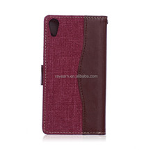 Premium leather case for Sony Xperia Z4 with flip cover card slot holder wallet case