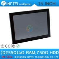 "audio-visual center HDPC living room computer all in one touchscreen PC with LED 2mm panel 15"" D2550 Dual Core 1.86Ghz"