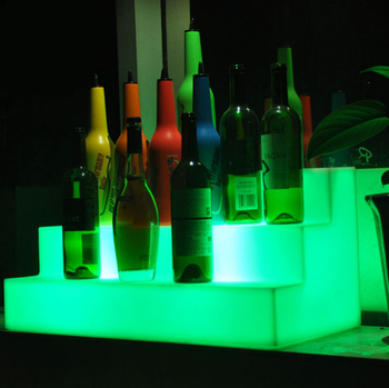 rgbw color changing wine bottle display rack with led light