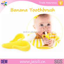 High quality!! Wholseale silicone infant baby banana bendable toothbrush