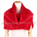 CX-S-171D Women Fashion Knitted Red Real Mink Fur Elastic Poncho Shawl Scarf