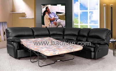 leather folidng bed with foam mattress for living room furniture