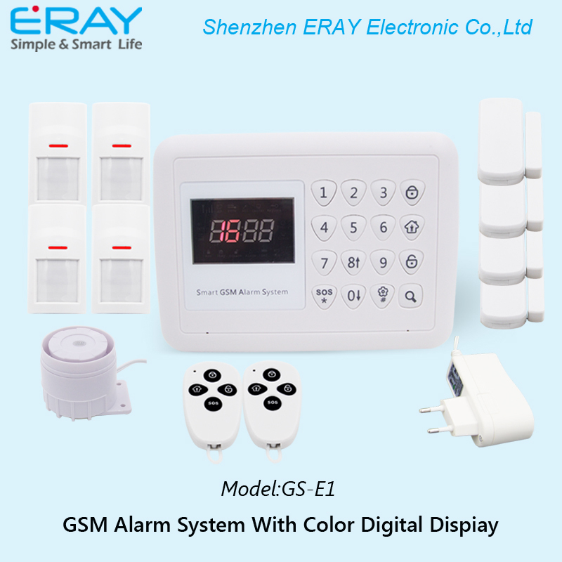 Auto-dial Android+IOS APP conntrolled color digital display GSM home alarm wireless security system