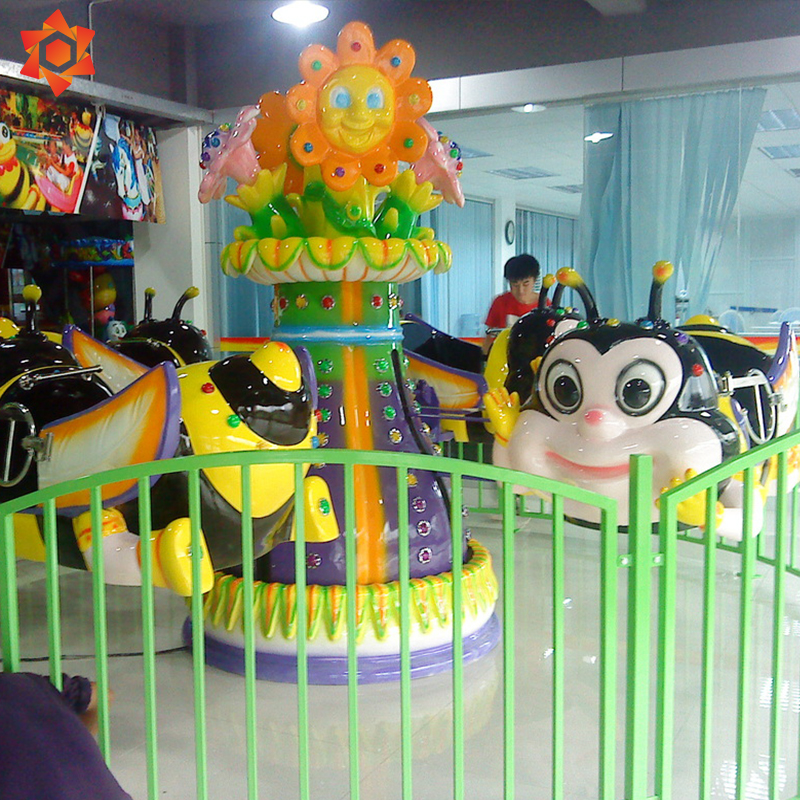 Rotating bees amusement cute rotation happy flying small school amusement outdoor playground bee rides