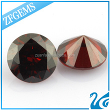 grade AAA garnet loose synthetic cz gemstone round 7mm cubic zirconia