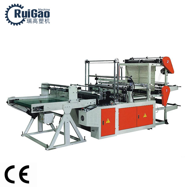 RG-DL800C 4 lines Hdpe Ldpe PE Heat-Sealing and Cold-Cutting plastic bag making machine