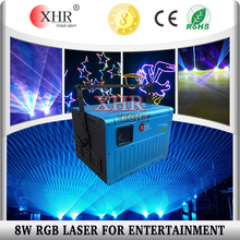 Analog multi color 8watt rgb sport event laser projector with sd card dmx ilda control