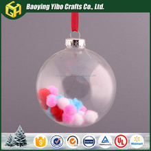 2016 clear hollow glass christmas decoration ball