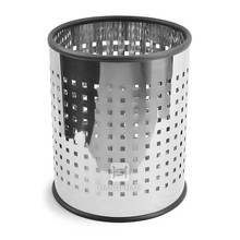 15L stainless steel office waste bin with hole