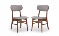 Sacramento Mid-Century Dark Walnut Wood and Grey Faux Leather Dining Chairs