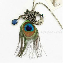 fashion vintage peacock feather necklace