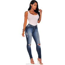 Wash Blue high waist stretch skinny women jeans apparel clothes blank denim jeans manufacturers wholesale China ripped hole pant