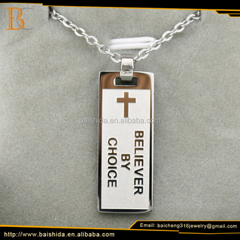 2017 Fashion Unique Religious Stainless Steel Baicheng Cross Necklace Jewelry For Unisex