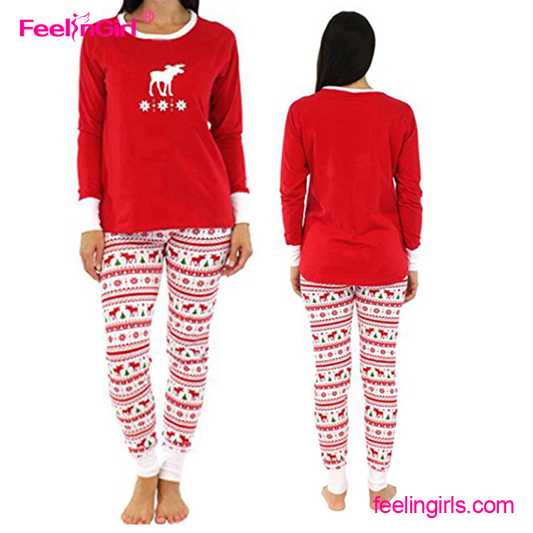Wholesale Printed Women Family Adult Matching Christmas Pajamas