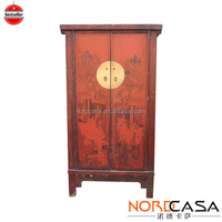 Wood Antique Furniture Chinese Style Red Lacquer Painted Small Wardrobe 2 Door 3 Drawer with Trunk