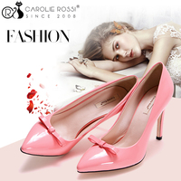 Latest design fashion shape pink color bow shoes office ladies high heel shoes