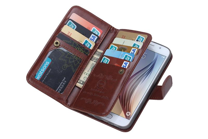 2016 new item wallet flip case for samgsung s6