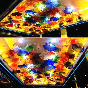 Wholesale large hotel decorative ceiling hand blown Murano glass plates art chandeliers ceiling