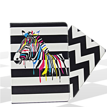 Zebra texture cover for ipad mini 1 2 3 4 checkerboard stripes pu leather case for pro 9.7 10.5 black and white simple design
