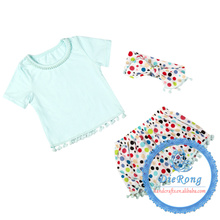 cute baby latest designs aqua dots pompom romper clothing short pant headband 3pcs/set