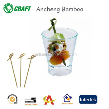 Bamboo knotted garnish picks/cocktail branded picks