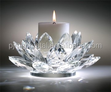 Wholesale crystal lotus flower shape votive glass candle holder, candelabra for wedding centerpieces MH-ZT0034