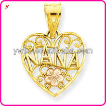 Goddess Nana Gold Heart hollow out charms with flower