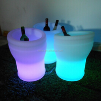 Cool Party LED Ice Bucket Double Layer Event Night Club KTV LED Beer RGB Color-Changing Flashing Light ice Pail Wine ice