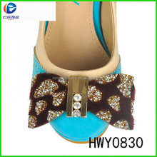 HWY0830 shining handmade fabric flower bead chain shoe flower for lady shoes