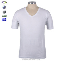 Cheap mens cotton plain white v-neck t shirts