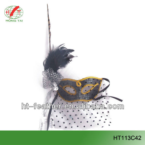 feather masquerade masks with pheasant tail for christmas decoration