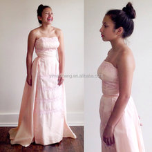Light pink strapless women dress weddings party evening Bridesmaid Long gown