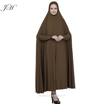 Solid Color Muslim Women Overhead Jilbab Plain Hijab Abaya 2019 Khimar Headscarf Islamic Prayer Dress