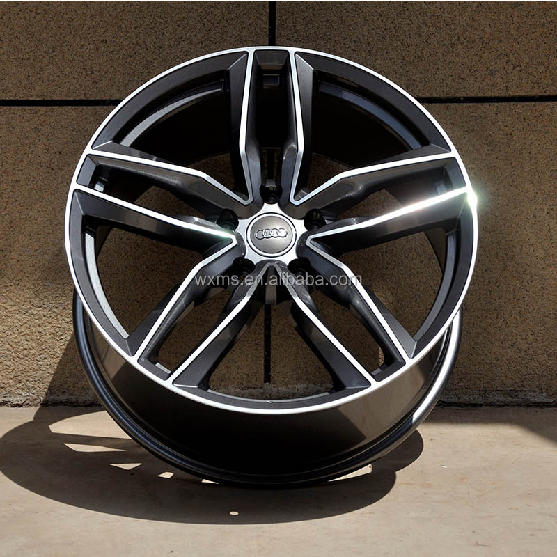 "2017 China Hot sell 18""19""20""21"" Matte Black machine face replica aluminum alloy wheels for Au di"