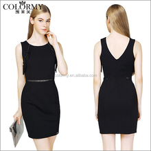 New Fashion Style Knee-length Black Bodycon Slim Sleeveless office Pencil Women Dresses