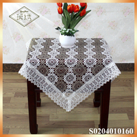 Double clolor embroidery dubai designs table cloth tabel topper