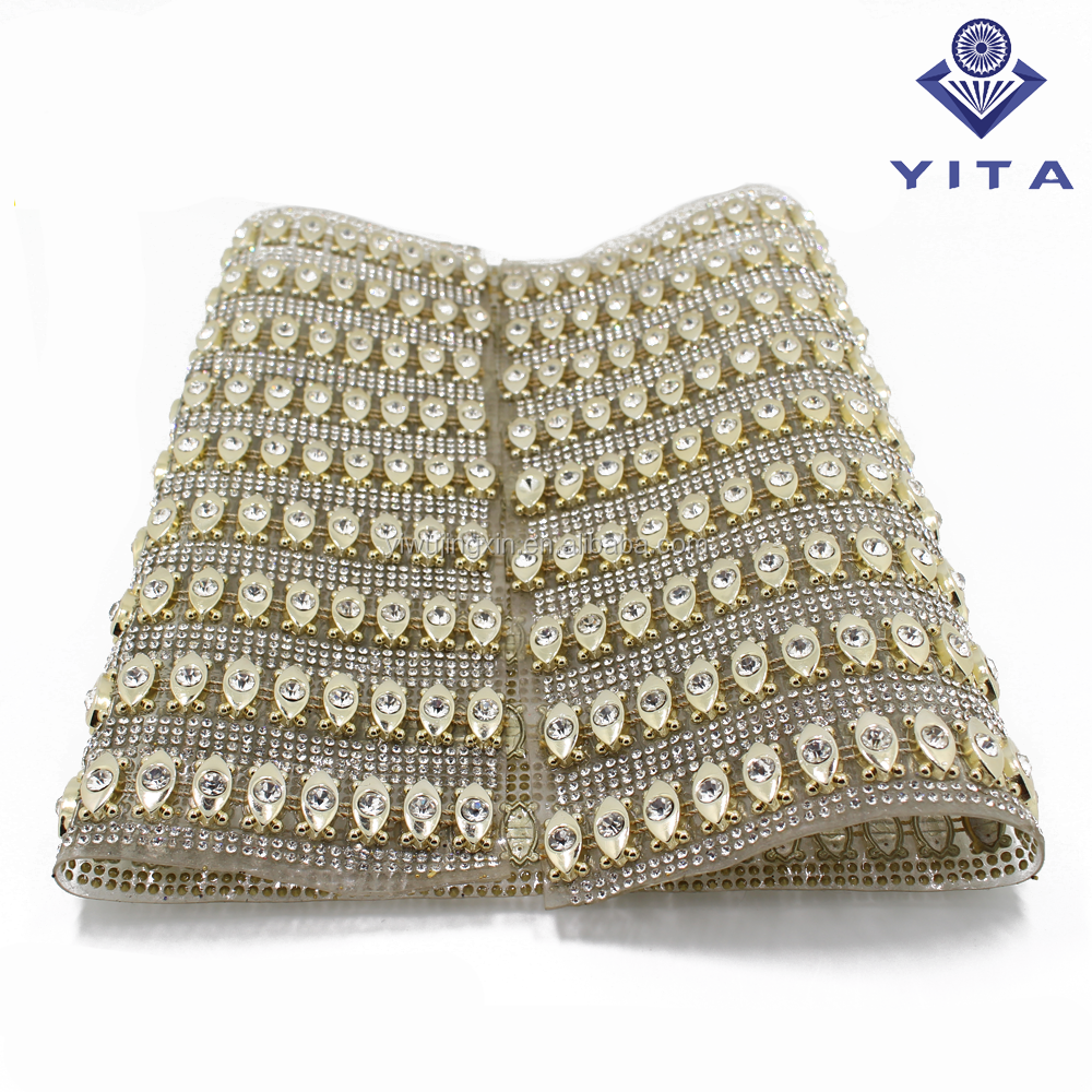 Bulk wholesale SS 8 point back rhinestone with UV plating base in hot fix glue mesh sheet