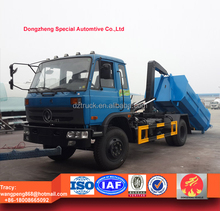 Dongfeng 153 dumpster truck, hook lift waste truck 12cbm, roll-off dustbin lorry 10tons RHD and LHD