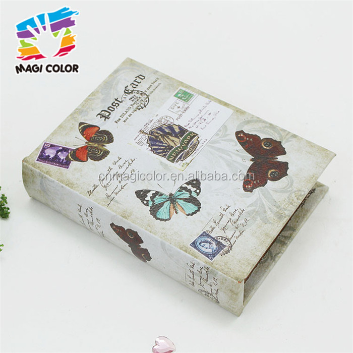 Wholesale wonderful kids wooden fake book box beautiful household wooden fake book gift box W18A021