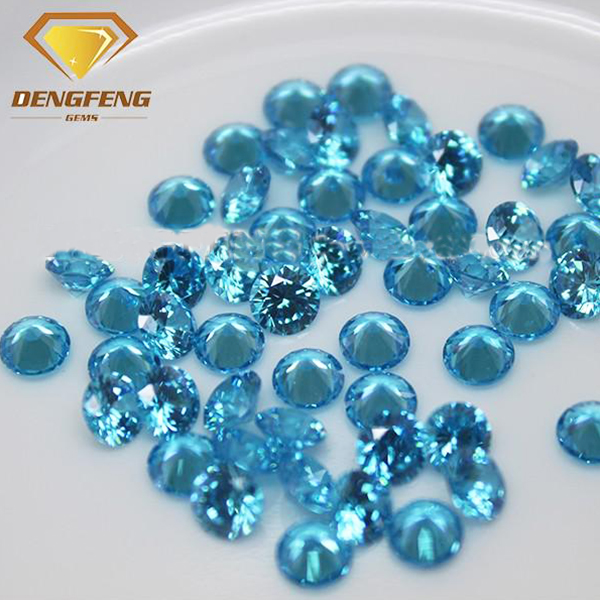 Factory Direct Sale Synthetic Round Shape Aquamarine CZ