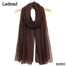 Casual Solid Color Light Warm Lady Hijab Cotton Shawl Bamboo Scarf