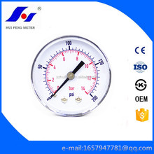 "Made In China Hydraulic 0-200psi/14bar Bourbon Tube 2.5"" Back Connection Water Pressure Gauge"