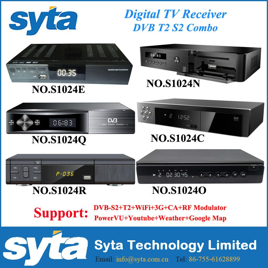 SYTA S1024E Combo Original DVB T2 s2 decoder+wifi Satellite Receiver Biss Key Ccam Newca Youtube powervu combo